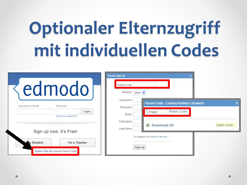 Optionaler Elternzugriff mit individuellen Codes