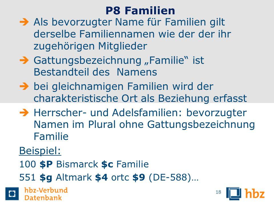 18 P8 Familien Als bevorzugter Name für Familien gilt derselbe Familiennamen wie der der ihr zugehörigen Mitglieder Gattungsbezeichnung Familie ist Be