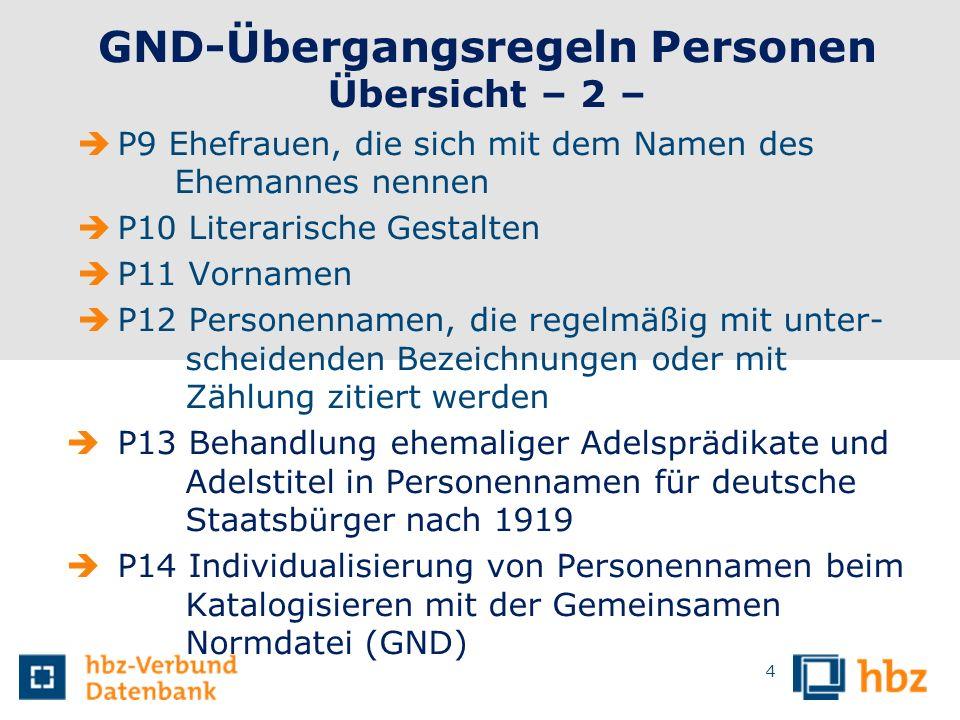GND-Übergangsregeln Personen Übersicht – 2 – P9 Ehefrauen, die sich mit dem Namen des Ehemannes nennen P10 Literarische Gestalten P11 Vornamen P12 Per