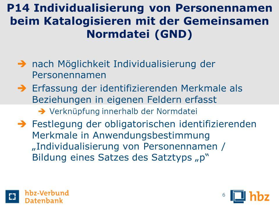 6 P14 Individualisierung von Personennamen beim Katalogisieren mit der Gemeinsamen Normdatei (GND) nach Möglichkeit Individualisierung der Personennam