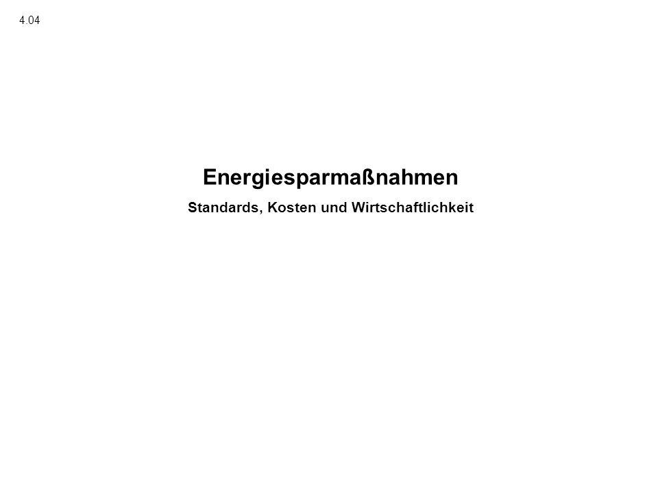 Energiesparmaßnahmen Standards, Kosten und Wirtschaftlichkeit 4.04