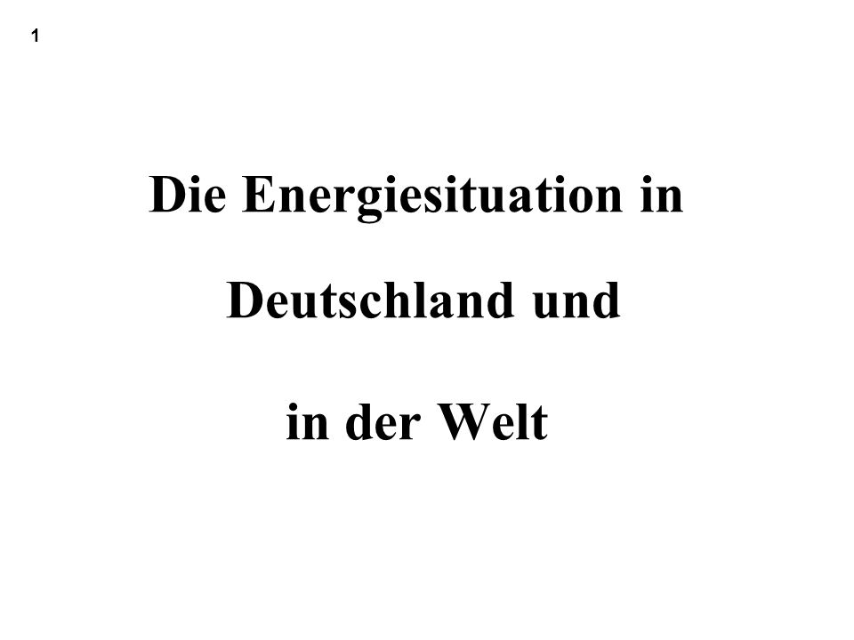 1.Die Energiesituation in Deutschland und in der Welt 1.1 Energieverbrauch in Deutschland 1.11 Übersicht - Energieflussbilder 1.12 Primärenergie a) PE-Verbrauch nach Energieträgern b) Die einzelnen Energiemärkte der BRD 1.13 Endenergie nach Dienstleistung und Verbrauchergruppen 1.14 Energie und CO 2 in der BRD Exkurs: CO2- Minderung - Wo stehen wir und was sollten wir tun 1.15 Zwei weitere wichtige Fragen: Monetäre Bewertung ; Stand der Erneuerbare Energien 1.16 Kennziffern zum Energieverbrauch in Deutschland 1.17 Importenergie : BRD 2000, 2006 1.18 Preise und Kosten für Energie kleiner Exkurs: Wie die geschenkten CO2 Emissionszertifikate den Strompreis dennoch verteuern 1.19 Energieverbrauch in Deutschland: Einflußfaktoren und Szenarien 1.2 Energieverbrauch in der Welt 1.3 Wachstum des Energieverbrauches Einflußfaktoren.