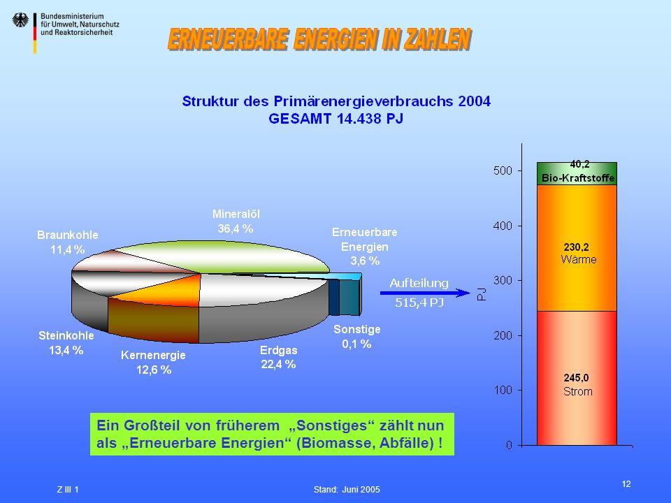 12 Z III 1Stand: Juni 2005 Ein Großteil von früherem Sonstiges zählt nun als Erneuerbare Energien (Biomasse, Abfälle) !