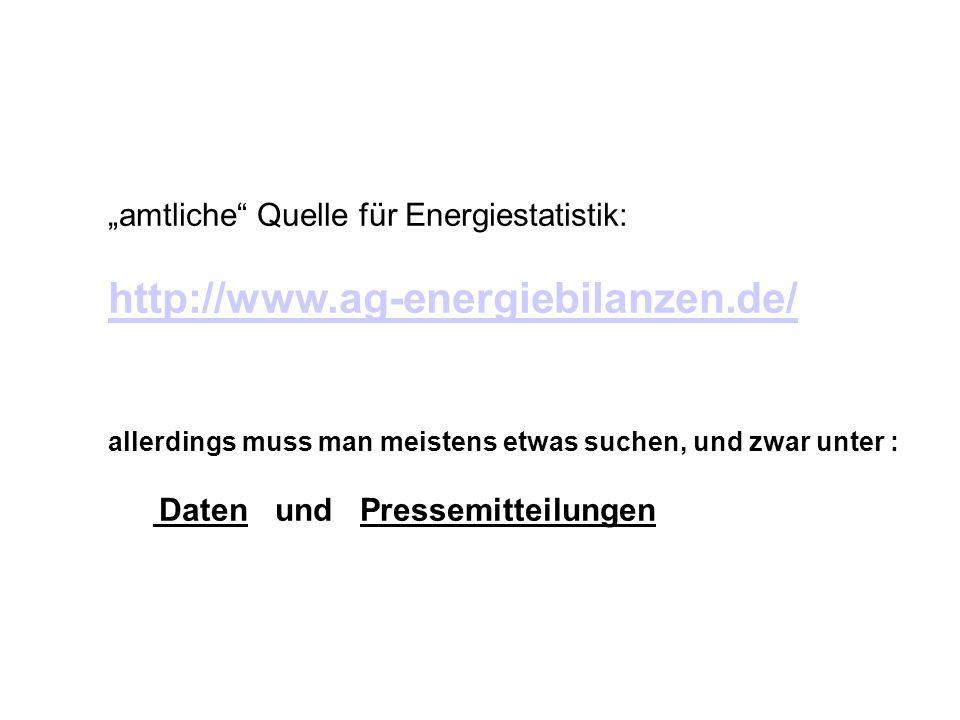 amtliche Quelle für Energiestatistik: http://www.ag-energiebilanzen.de/ allerdings muss man meistens etwas suchen, und zwar unter : Daten und Pressemi