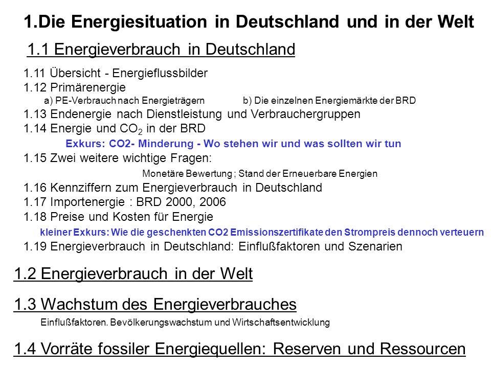 1.Die Energiesituation in Deutschland und in der Welt 1.1 Energieverbrauch in Deutschland 1.11 Übersicht - Energieflussbilder 1.12 Primärenergie a) PE
