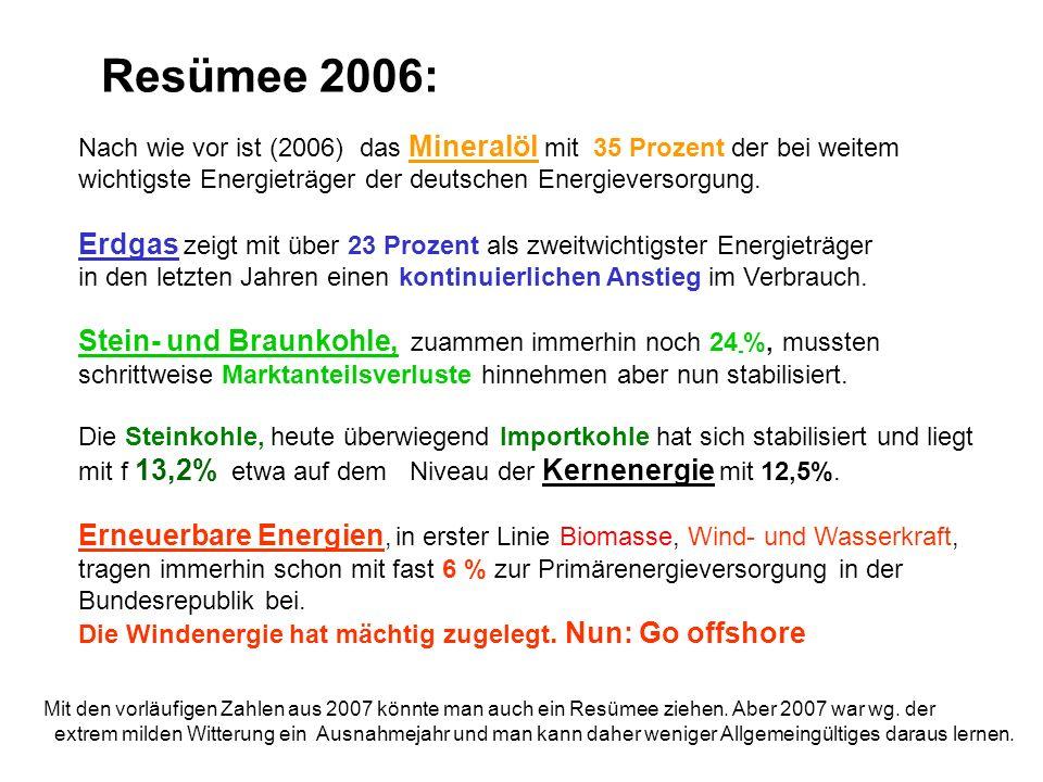 Nach wie vor ist (2006) das Mineralöl mit 35 Prozent der bei weitem wichtigste Energieträger der deutschen Energieversorgung. Erdgas zeigt mit über 23