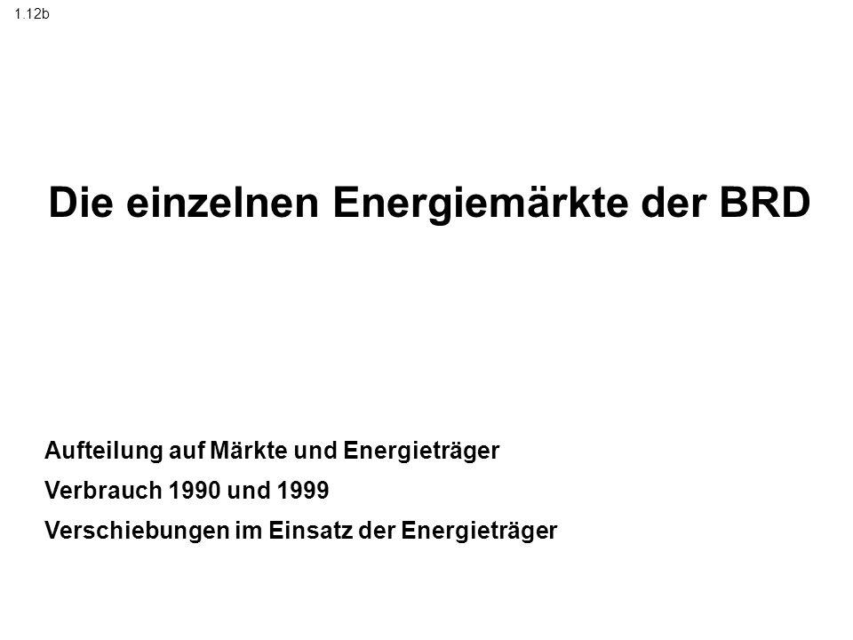 Die einzelnen Energiemärkte der BRD Aufteilung auf Märkte und Energieträger Verbrauch 1990 und 1999 Verschiebungen im Einsatz der Energieträger 1.12b
