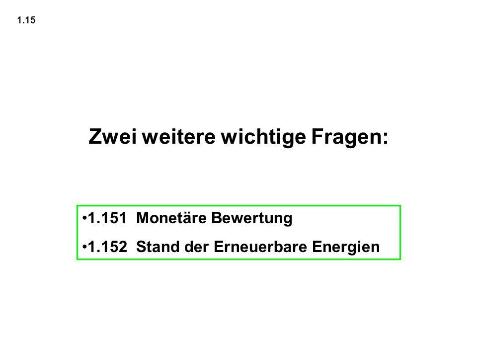 Zwei weitere wichtige Fragen: 1.151 Monetäre Bewertung 1.152 Stand der Erneuerbare Energien 1.15