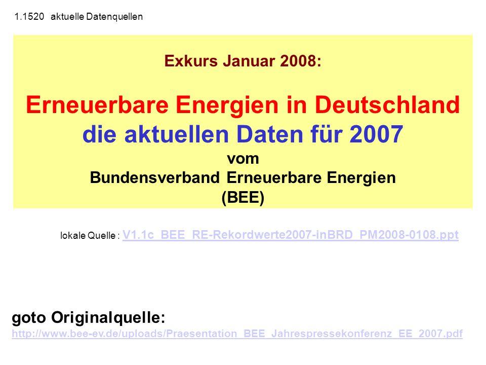 Exkurs Januar 2008: Erneuerbare Energien in Deutschland die aktuellen Daten für 2007 vom Bundensverband Erneuerbare Energien (BEE) lokale Quelle : V1.