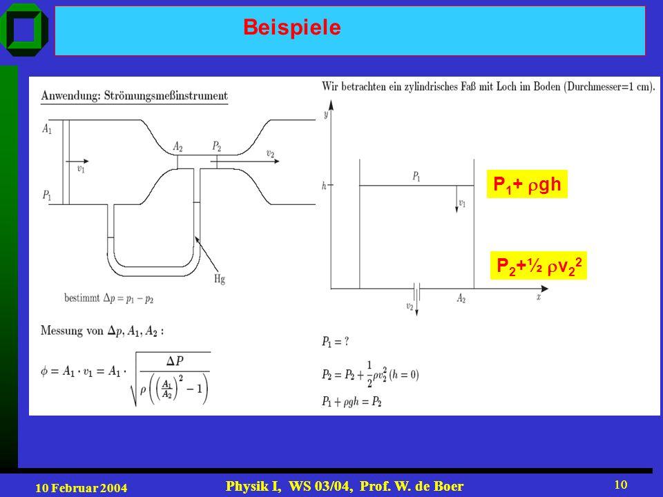10 Februar 2004 Physik I, WS 03/04, Prof. W. de Boer 10 Physik I, WS 03/04, Prof. W. de Boer 10 Beispiele P 1 + gh P 2 +½ v 2 2