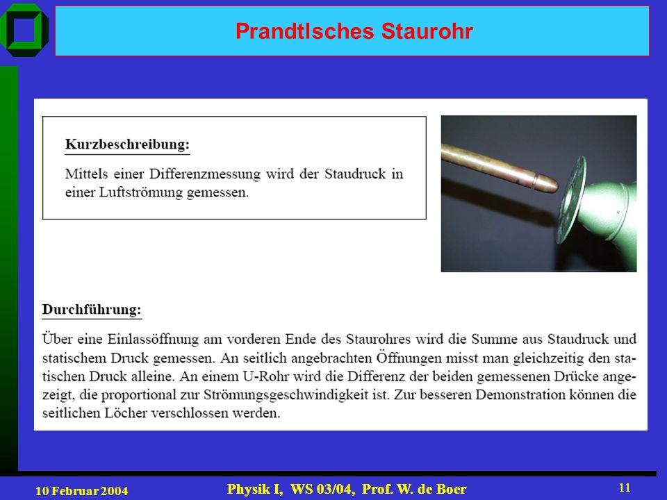 10 Februar 2004 Physik I, WS 03/04, Prof. W. de Boer 11 Physik I, WS 03/04, Prof. W. de Boer 11 Prandtlsches Staurohr