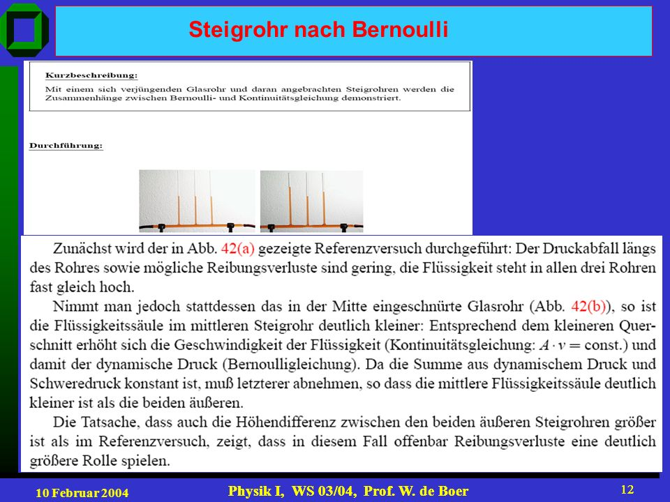 10 Februar 2004 Physik I, WS 03/04, Prof. W. de Boer 12 Physik I, WS 03/04, Prof. W. de Boer 12 Steigrohr nach Bernoulli