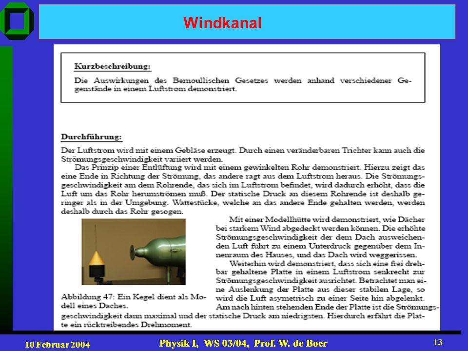 10 Februar 2004 Physik I, WS 03/04, Prof. W. de Boer 13 Physik I, WS 03/04, Prof. W. de Boer 13 Windkanal