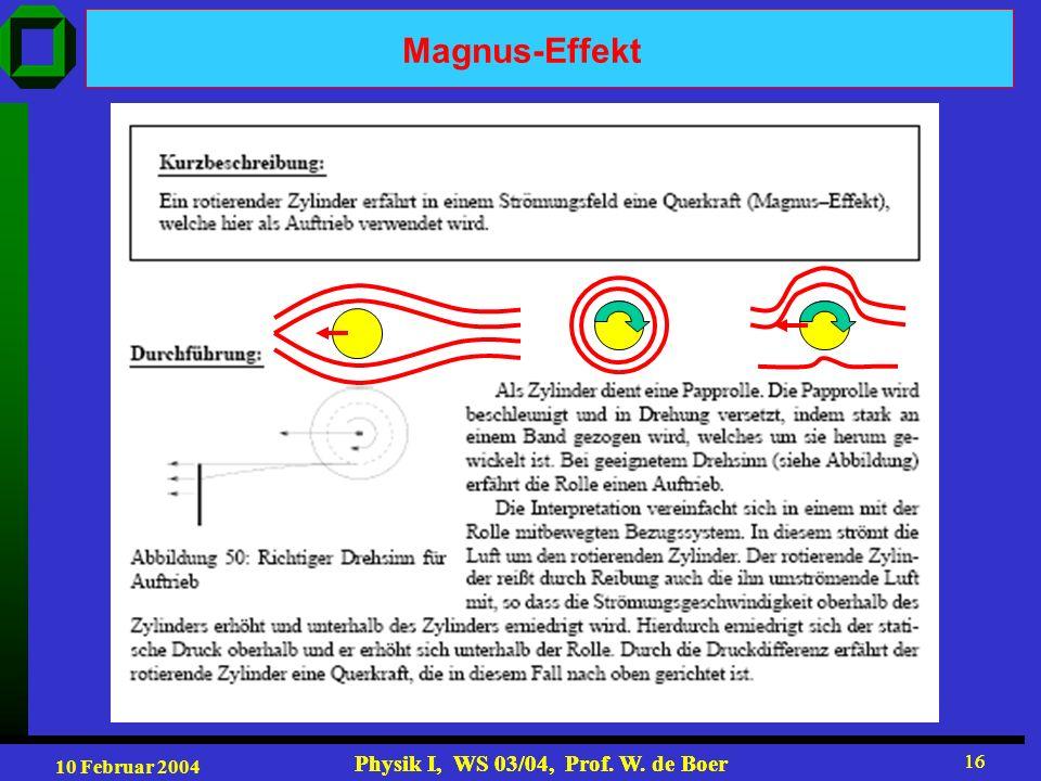 10 Februar 2004 Physik I, WS 03/04, Prof. W. de Boer 16 Physik I, WS 03/04, Prof. W. de Boer 16 Magnus-Effekt