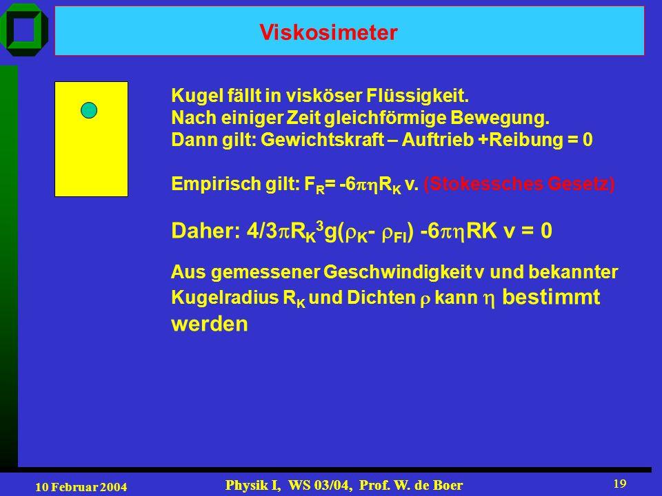 10 Februar 2004 Physik I, WS 03/04, Prof. W. de Boer 19 Physik I, WS 03/04, Prof. W. de Boer 19 Viskosimeter Kugel fällt in visköser Flüssigkeit. Nach