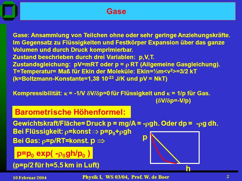 10 Februar 2004 Physik I, WS 03/04, Prof. W. de Boer 2 2 Gase Gase: Ansammlung von Teilchen ohne oder sehr geringe Anziehungskräfte. Im Gegensatz zu F