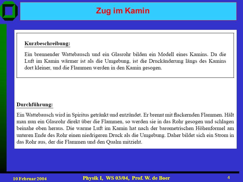 10 Februar 2004 Physik I, WS 03/04, Prof. W. de Boer 4 4 Zug im Kamin