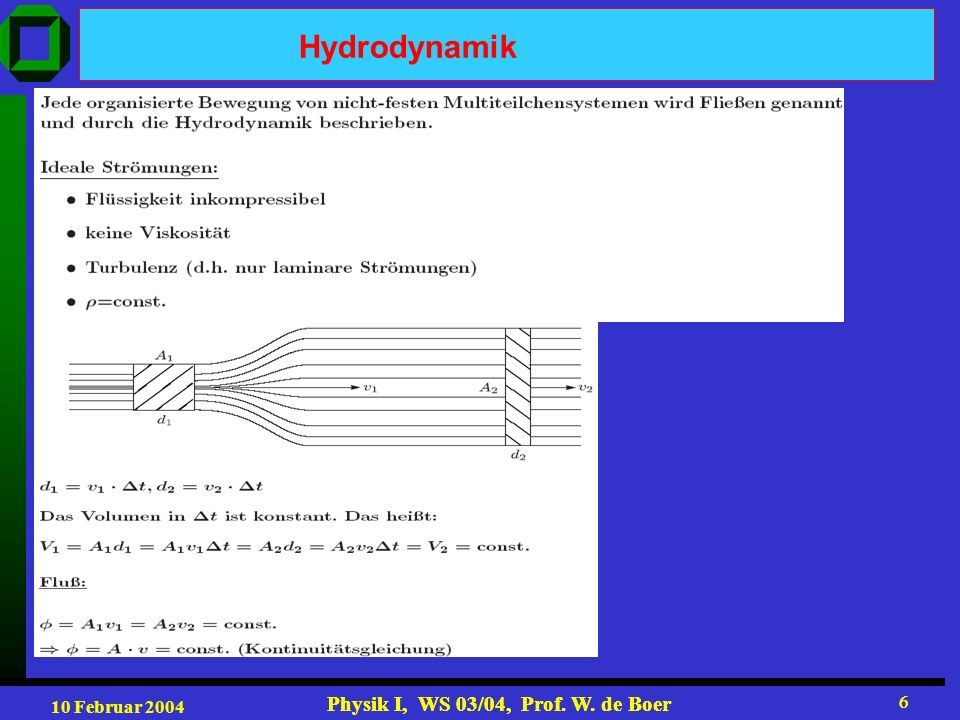 10 Februar 2004 Physik I, WS 03/04, Prof. W. de Boer 6 6 Hydrodynamik