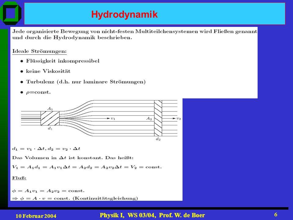 10 Februar 2004 Physik I, WS 03/04, Prof.W. de Boer 17 Physik I, WS 03/04, Prof.