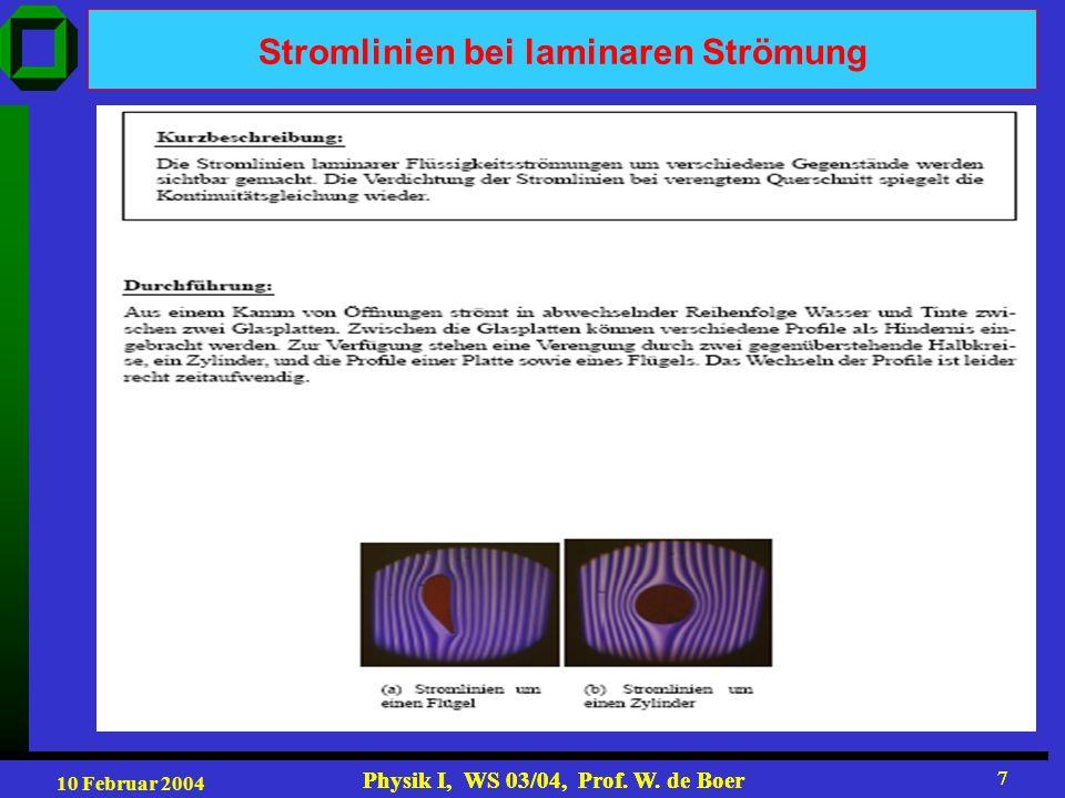 10 Februar 2004 Physik I, WS 03/04, Prof. W. de Boer 7 7 Stromlinien bei laminaren Strömung