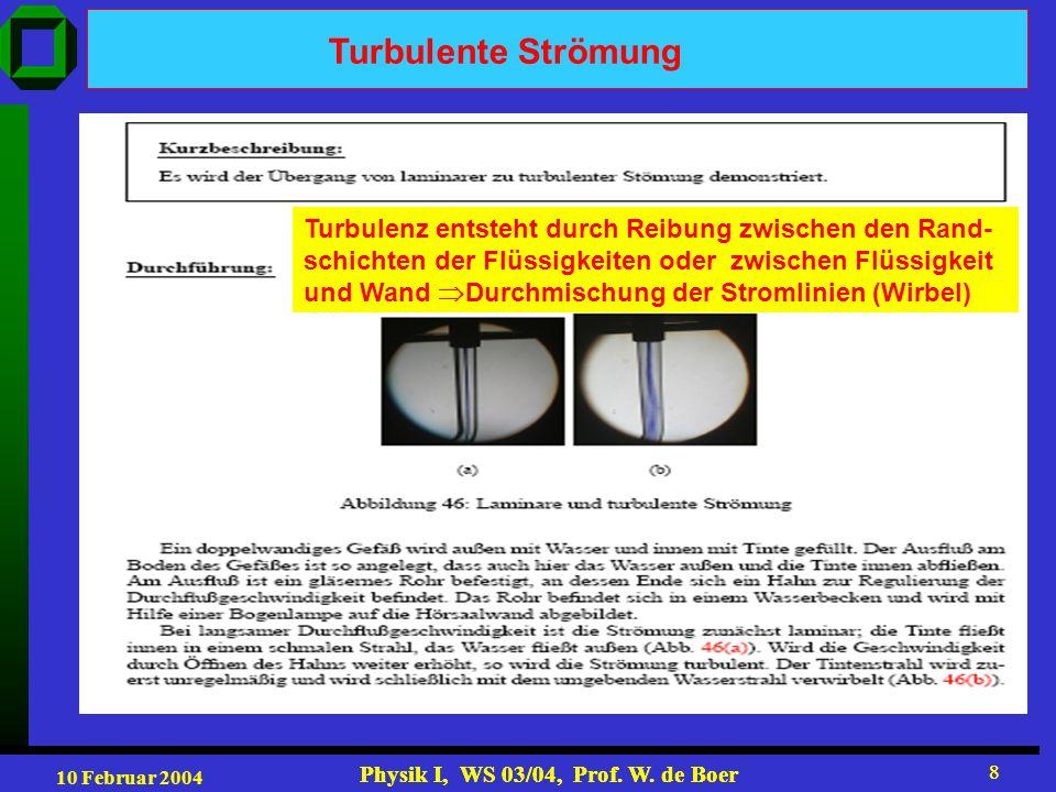 10 Februar 2004 Physik I, WS 03/04, Prof. W. de Boer 8 8 Turbulente Strömung Turbulenz entsteht durch Reibung zwischen den Rand- schichten der Flüssig