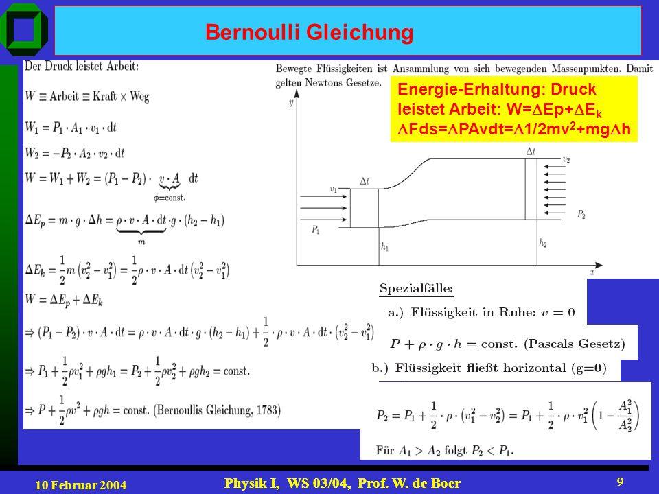 10 Februar 2004 Physik I, WS 03/04, Prof. W. de Boer 9 9 Bernoulli Gleichung Energie-Erhaltung: Druck leistet Arbeit: W= Ep+ E k Fds= PAvdt= 1/2mv 2 +