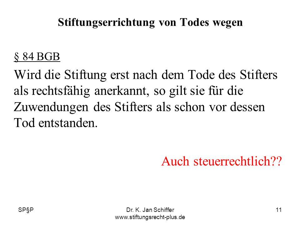 SP§PDr. K. Jan Schiffer www.stiftungsrecht-plus.de 11 Stiftungserrichtung von Todes wegen § 84 BGB Wird die Stiftung erst nach dem Tode des Stifters a