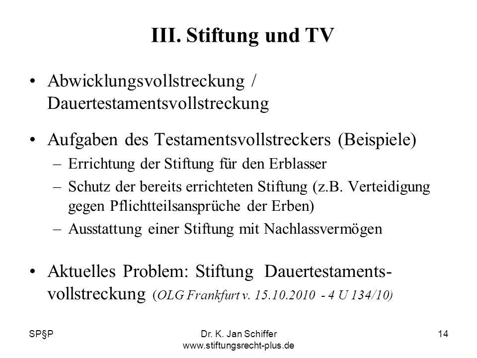 SP§PDr. K. Jan Schiffer www.stiftungsrecht-plus.de 14 III. Stiftung und TV Abwicklungsvollstreckung / Dauertestamentsvollstreckung Aufgaben des Testam