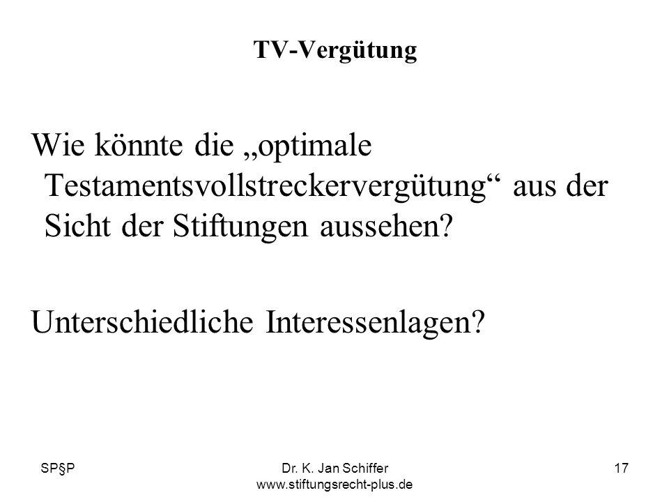 SP§PDr. K. Jan Schiffer www.stiftungsrecht-plus.de 17 TV-Vergütung Wie könnte die optimale Testamentsvollstreckervergütung aus der Sicht der Stiftunge