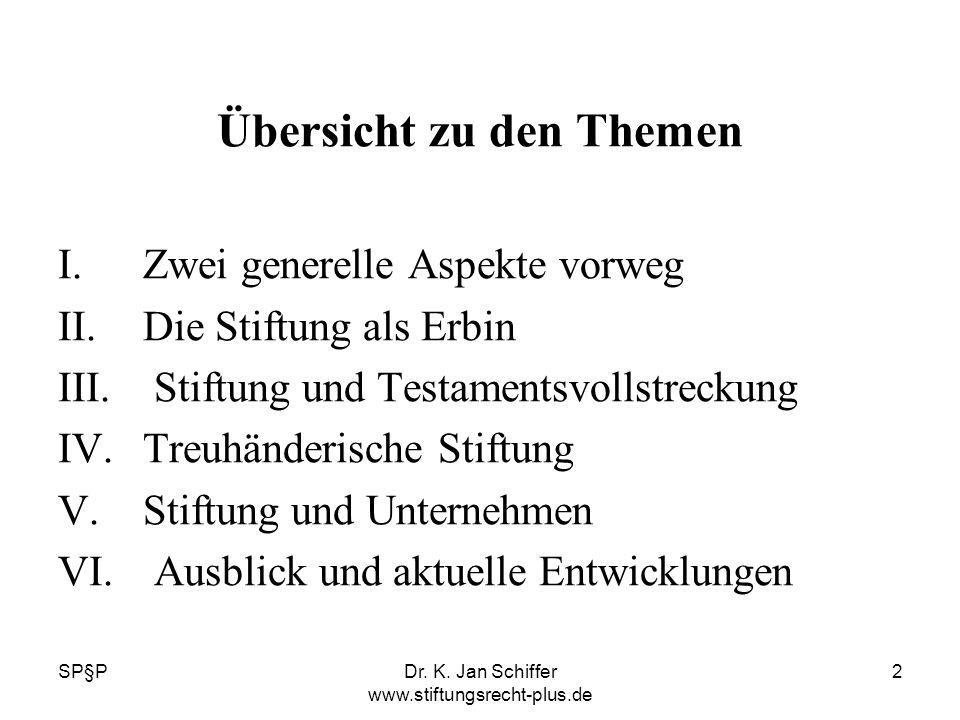 SP§PDr. K. Jan Schiffer www.stiftungsrecht-plus.de 2 Übersicht zu den Themen I.Zwei generelle Aspekte vorweg II.Die Stiftung als Erbin III. Stiftung u