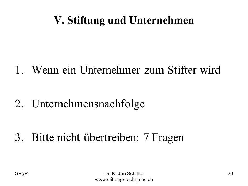 SP§PDr. K. Jan Schiffer www.stiftungsrecht-plus.de 20 V. Stiftung und Unternehmen 1.Wenn ein Unternehmer zum Stifter wird 2.Unternehmensnachfolge 3.Bi