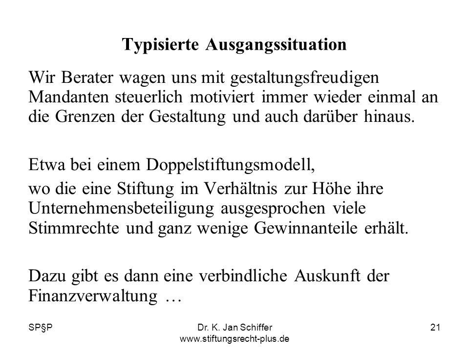 SP§PDr. K. Jan Schiffer www.stiftungsrecht-plus.de 21 Typisierte Ausgangssituation Wir Berater wagen uns mit gestaltungsfreudigen Mandanten steuerlich