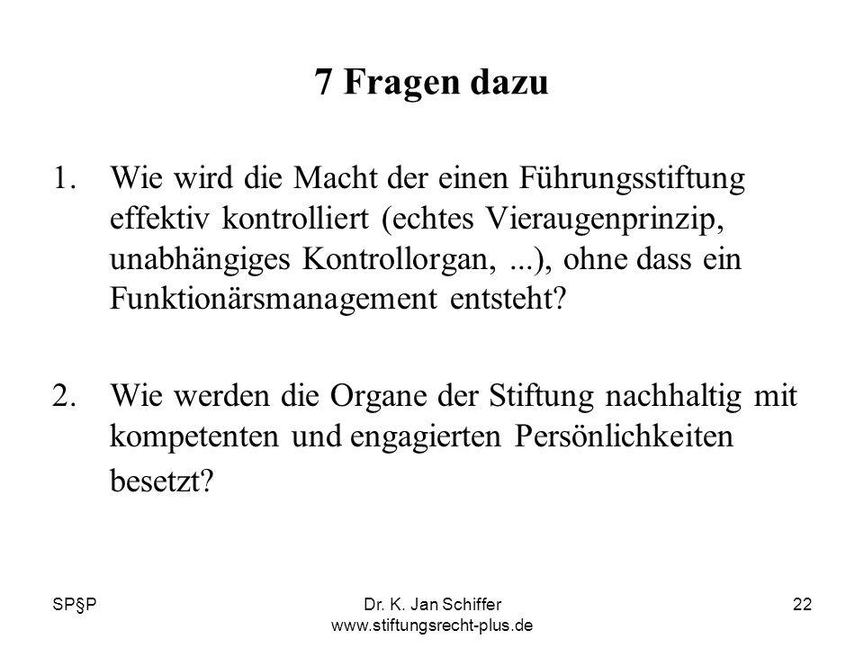 SP§PDr. K. Jan Schiffer www.stiftungsrecht-plus.de 22 7 Fragen dazu 1.Wie wird die Macht der einen Führungsstiftung effektiv kontrolliert (echtes Vier