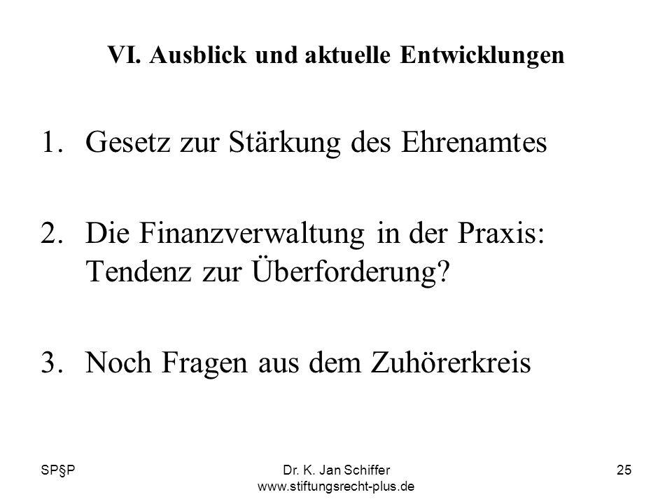 SP§PDr. K. Jan Schiffer www.stiftungsrecht-plus.de 25 VI. Ausblick und aktuelle Entwicklungen 1.Gesetz zur Stärkung des Ehrenamtes 2.Die Finanzverwalt