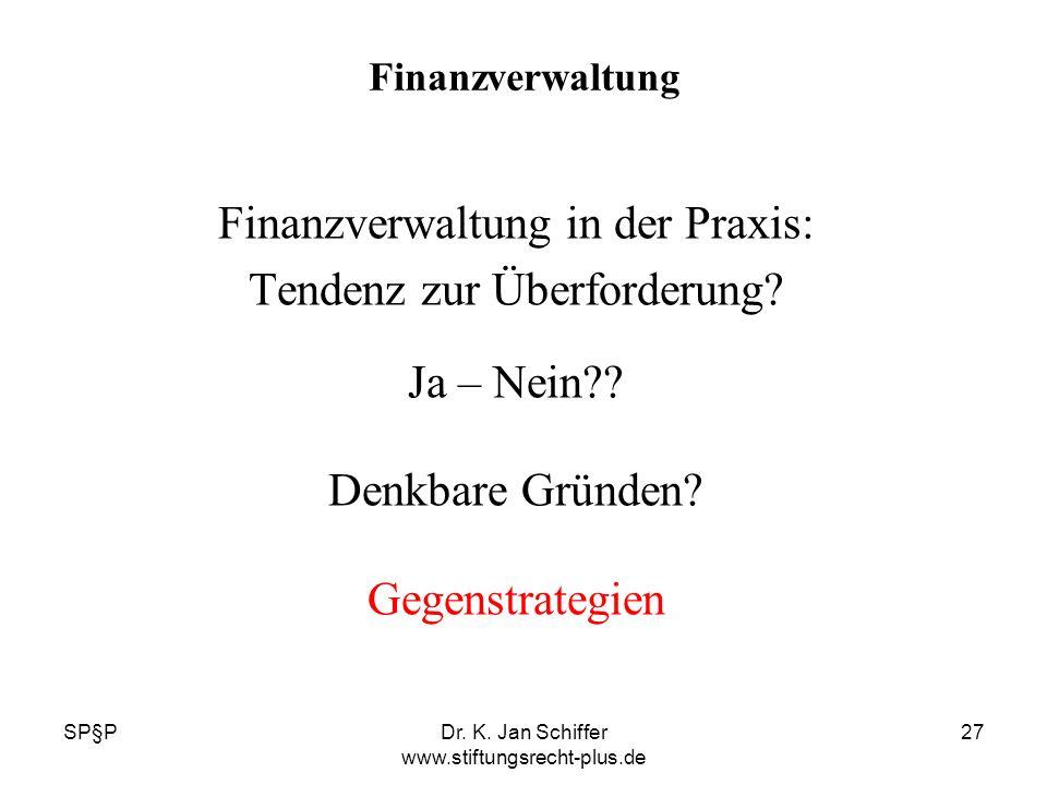 SP§PDr. K. Jan Schiffer www.stiftungsrecht-plus.de 27 Finanzverwaltung Finanzverwaltung in der Praxis: Tendenz zur Überforderung? Ja – Nein?? Denkbare