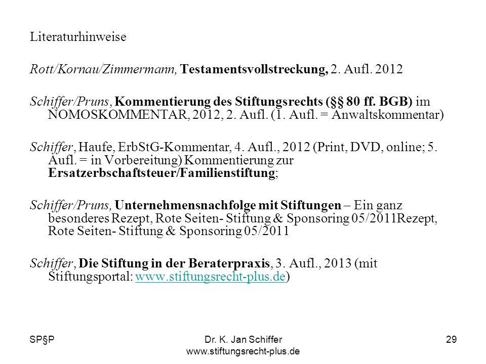 SP§PDr. K. Jan Schiffer www.stiftungsrecht-plus.de 29 Literaturhinweise Rott/Kornau/Zimmermann, Testamentsvollstreckung, 2. Aufl. 2012 Schiffer/Pruns,