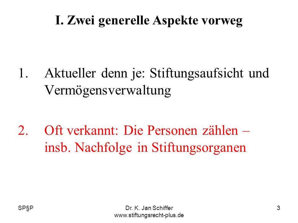 SP§PDr. K. Jan Schiffer www.stiftungsrecht-plus.de 3 I. Zwei generelle Aspekte vorweg 1.Aktueller denn je: Stiftungsaufsicht und Vermögensverwaltung 2
