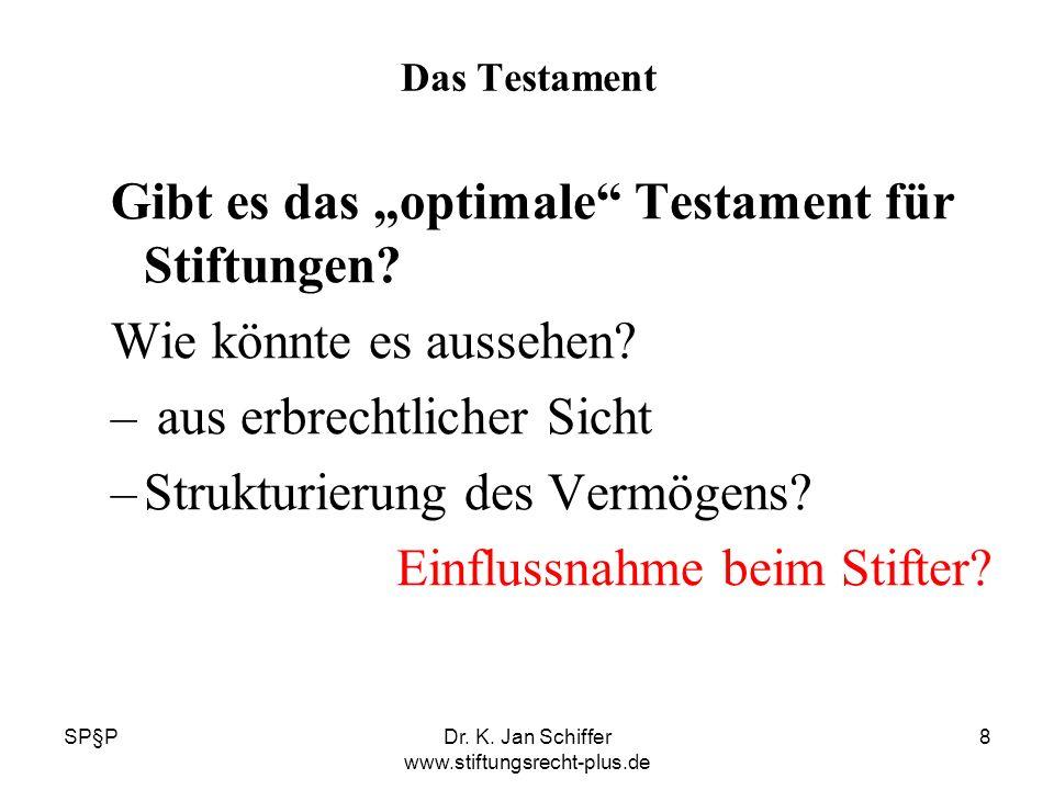 SP§PDr. K. Jan Schiffer www.stiftungsrecht-plus.de 8 Das Testament Gibt es das optimale Testament für Stiftungen? Wie könnte es aussehen? – aus erbrec