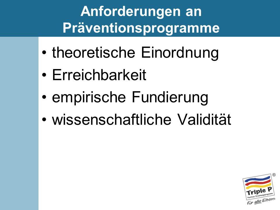 Anforderungen an Präventionsprogramme theoretische Einordnung Erreichbarkeit empirische Fundierung wissenschaftliche Validität