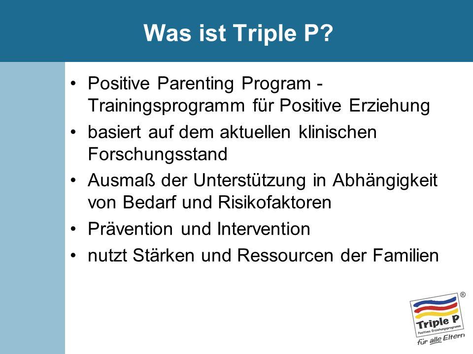 Was ist Triple P? Positive Parenting Program - Trainingsprogramm für Positive Erziehung basiert auf dem aktuellen klinischen Forschungsstand Ausmaß de