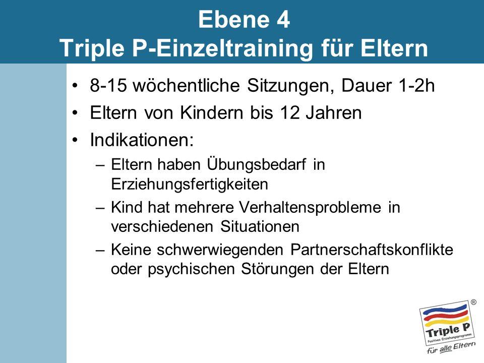 Ebene 4 Triple P-Einzeltraining für Eltern 8-15 wöchentliche Sitzungen, Dauer 1-2h Eltern von Kindern bis 12 Jahren Indikationen: –Eltern haben Übungs