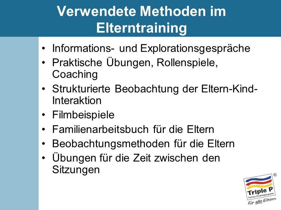 Verwendete Methoden im Elterntraining Informations- und Explorationsgespräche Praktische Übungen, Rollenspiele, Coaching Strukturierte Beobachtung der