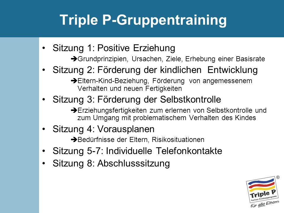 Triple P-Gruppentraining Sitzung 1: Positive Erziehung Grundprinzipien, Ursachen, Ziele, Erhebung einer Basisrate Sitzung 2: Förderung der kindlichen