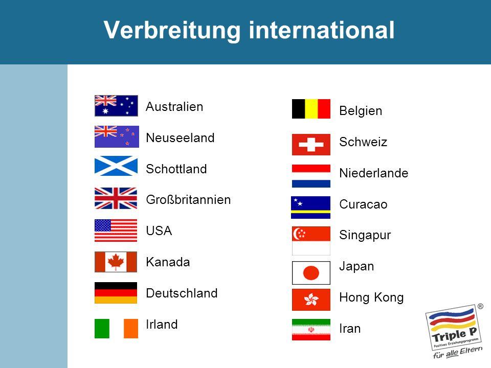 Verbreitung international Australien Neuseeland Schottland Großbritannien USA Kanada Deutschland Irland Belgien Schweiz Niederlande Curacao Singapur J