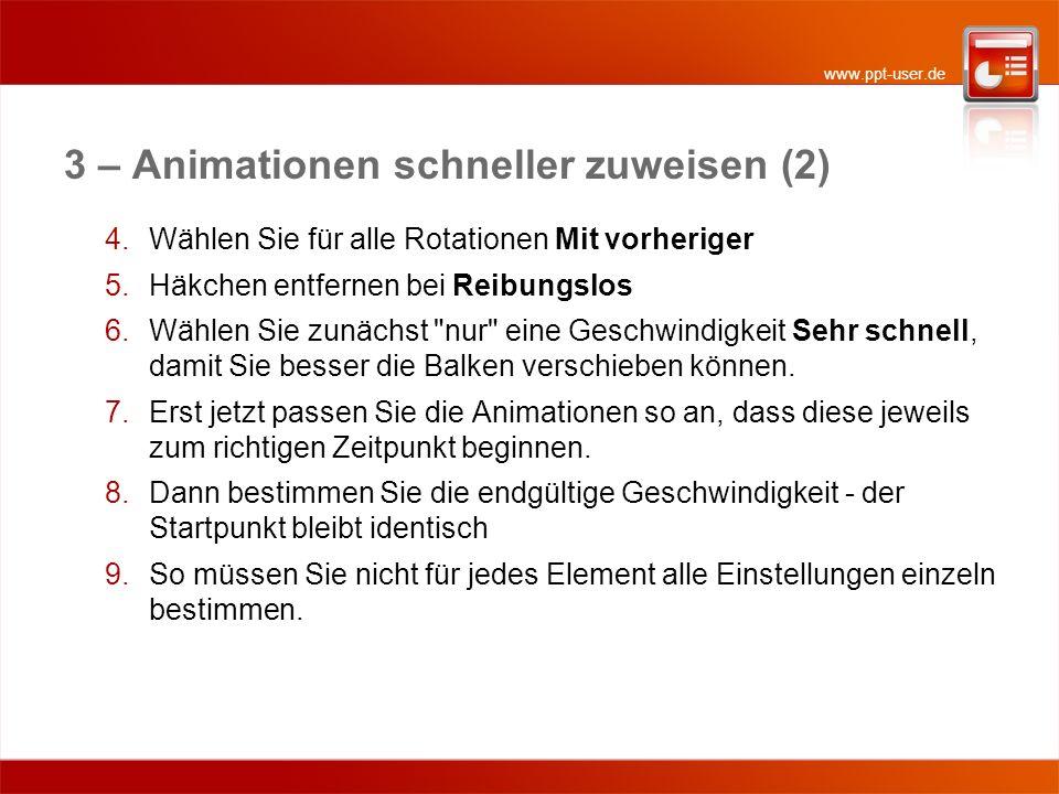 www.ppt-user.de 3 – Animationen schneller zuweisen (2) 4.Wählen Sie für alle Rotationen Mit vorheriger 5.Häkchen entfernen bei Reibungslos 6.Wählen Si