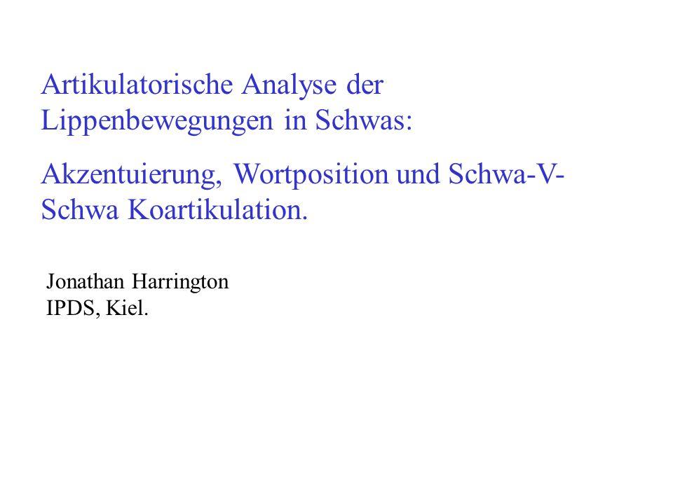 Artikulatorische Analysen der Akzentuierung (Satzbetonung) Grössere Gesten Ausdehnung vom Vokalraum (zB: De Jong, 1995; Harrington, Fletcher, Beckman, 2000; Harrington, Fletcher, Roberts, 1995 und andere)