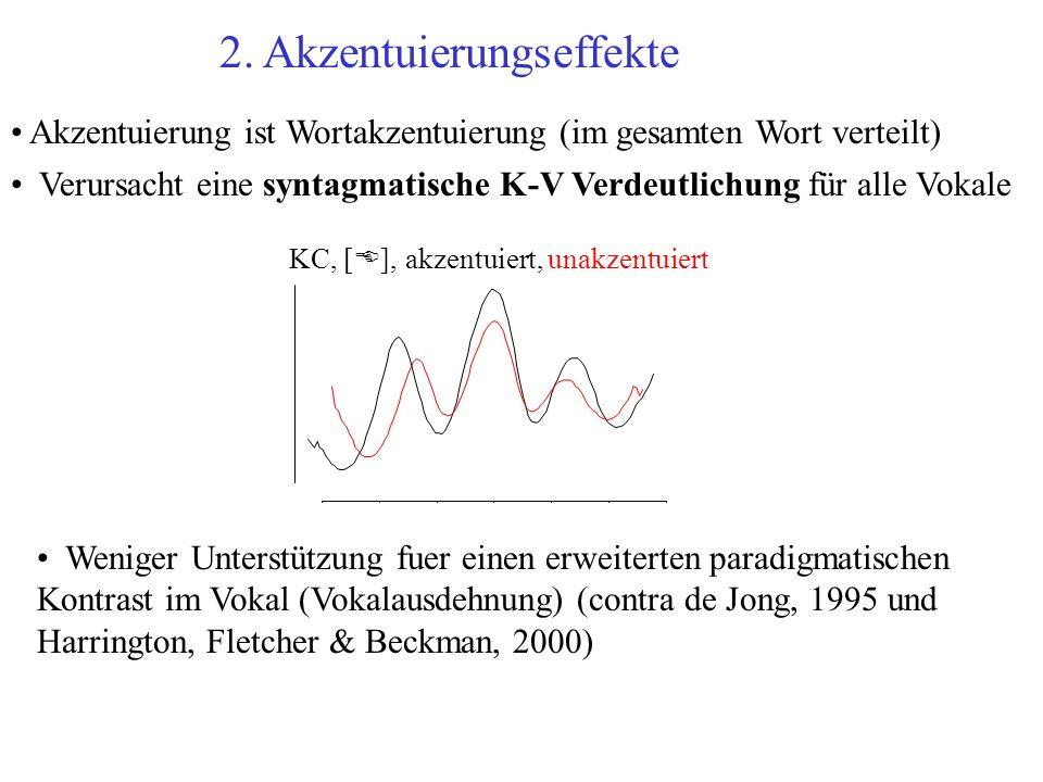 2. Akzentuierungseffekte Akzentuierung ist Wortakzentuierung (im gesamten Wort verteilt) Verursacht eine syntagmatische K-V Verdeutlichung für alle Vo