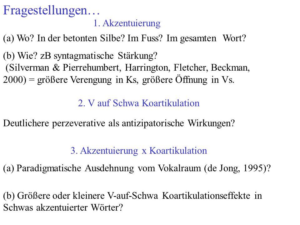 Fragestellungen… 1. Akzentuierung(a) Wo? In der betonten Silbe? Im Fuss? Im gesamten Wort? (b) Wie? zB syntagmatische Stärkung? (Silverman & Pierrehum