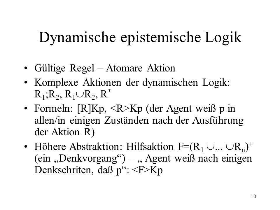 10 Dynamische epistemische Logik Gültige Regel – Atomare Aktion Komplexe Aktionen der dynamischen Logik: R 1 ;R 2, R 1 R 2, R * Formeln: [R]Kp, Kp (de