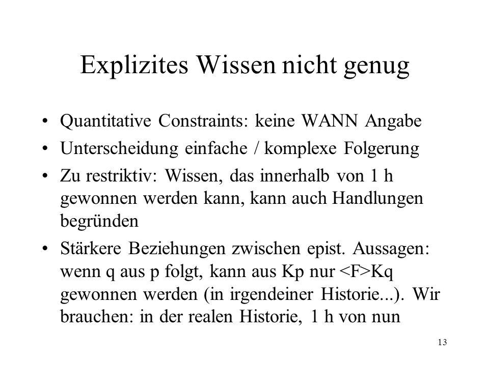 13 Explizites Wissen nicht genug Quantitative Constraints: keine WANN Angabe Unterscheidung einfache / komplexe Folgerung Zu restriktiv: Wissen, das i